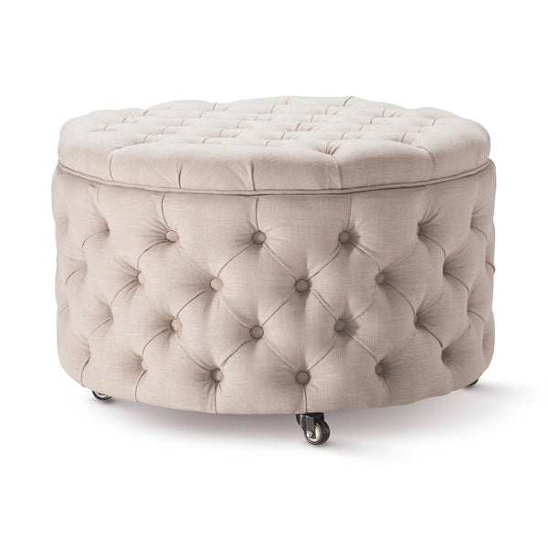 Emma Storage Ottoman Large 75cm Latte - Black Mango