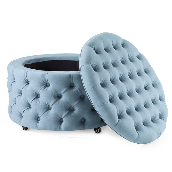 Emma Storage Ottoman Large 75cm Teal - Black Mango
