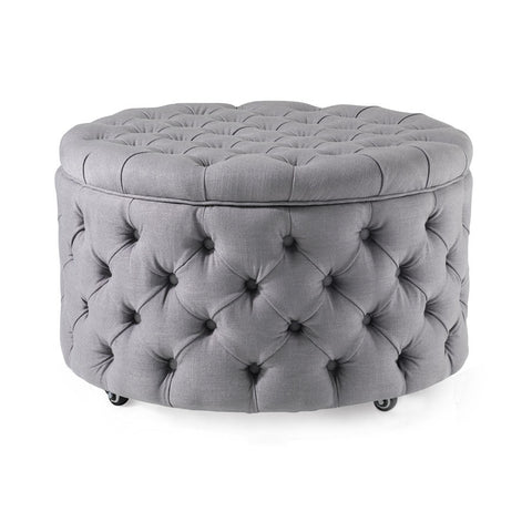 Emma Storage Ottoman Large 75cm Wolf Grey - Black Mango