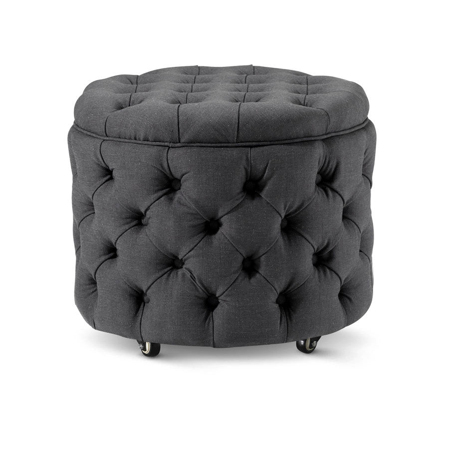Emma Storage Ottoman Small Charcoal - Black Mango