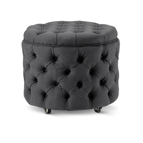 Emma Storage Ottoman Small Charcoal