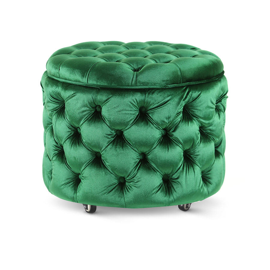 Emma Storage Ottoman Small Emerald - Black Mango