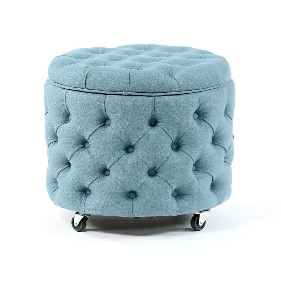 Emma Storage Ottoman Small Teal   Black Mango ...