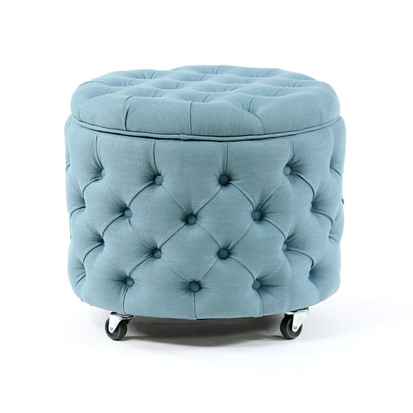 Emma Storage Ottoman Small Teal - Black Mango