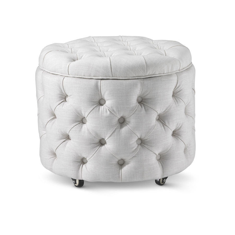 Emma Storage Ottoman Small Linen White - Black Mango