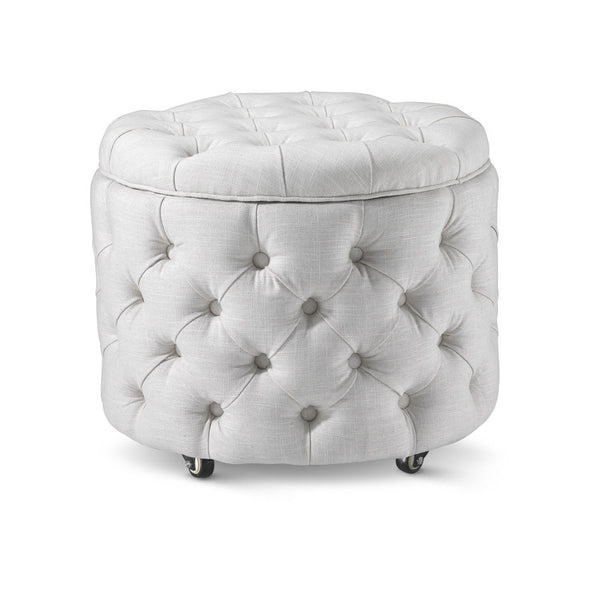 Emma Storage Ottoman Small Linen White