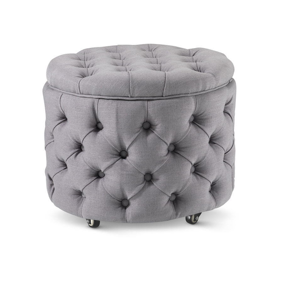 Emma Storage Ottoman Small Wolf Grey - Black Mango