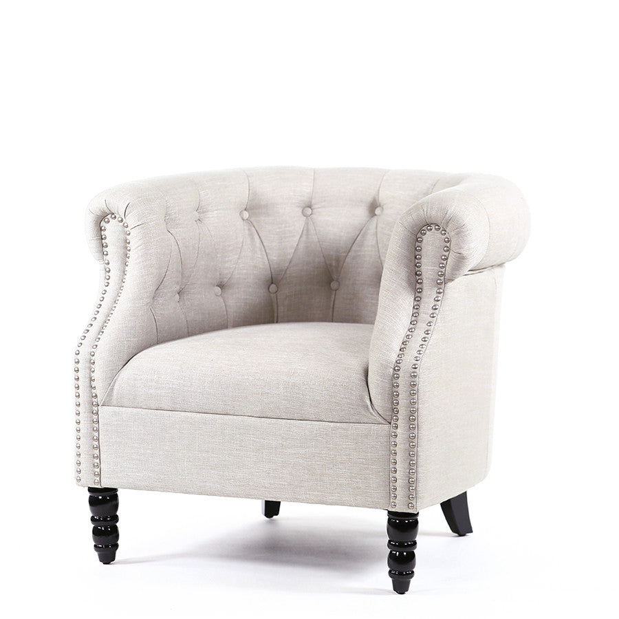 Esther Tub Chair Taupe - Black Mango