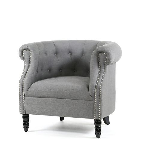 Esther Tub Chair Wolf Grey - Black Mango