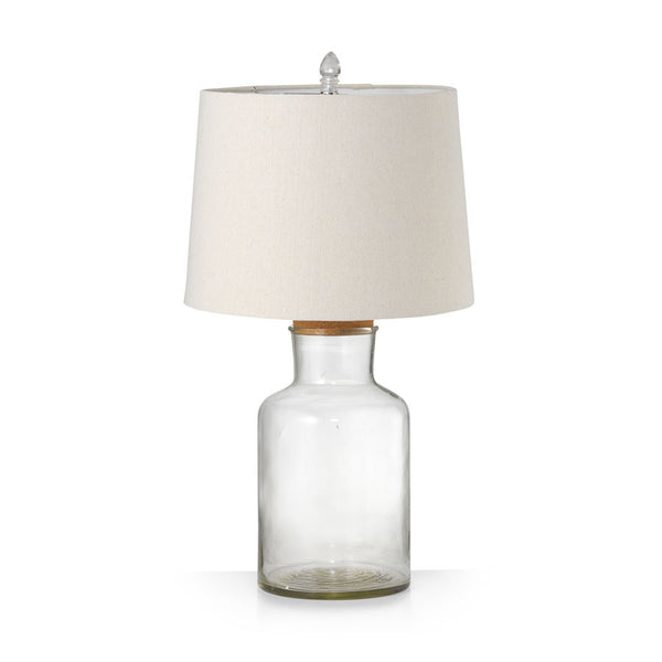 Fillable Jar Lamp With Oatmeal Shade Medium 65cm - Black Mango