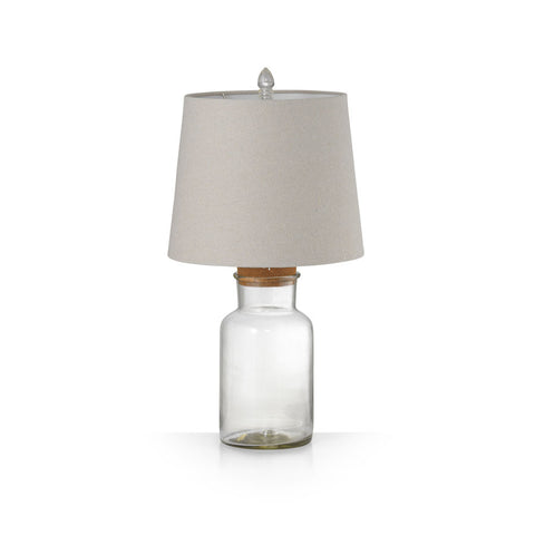 Fillable Jar Lamp With Oatmeal Shade Small 56cm - Black Mango