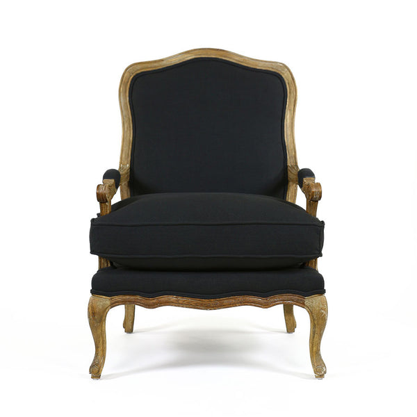 French Provincial Adele Occasional Chair Black Black Mango