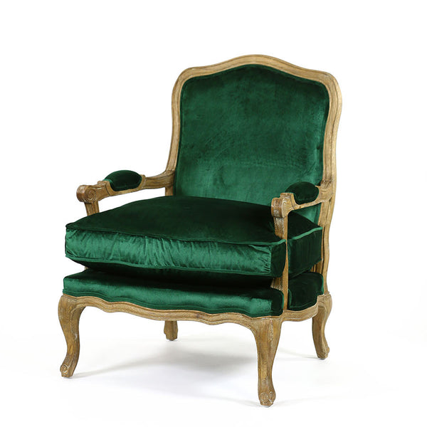 French Provincial Adele Occasional Chair Emerald Black Mango