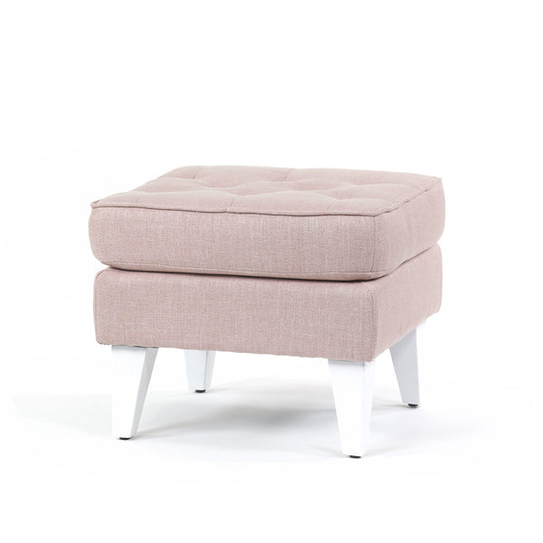 Isla Ottoman Dusty Pink White Legs - Black Mango