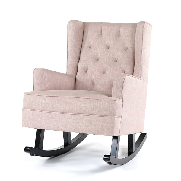 Isla Wingback Rocking Chair Dusty Pink Black Legs Black