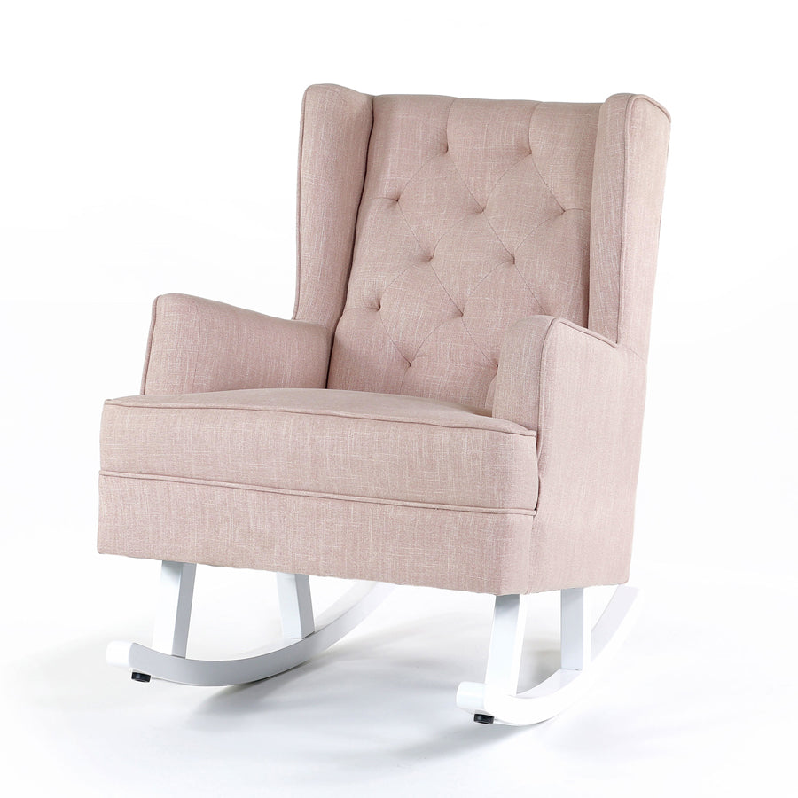 Isla Wingback Rocking Chair Dusty Pink White Legs - Black Mango