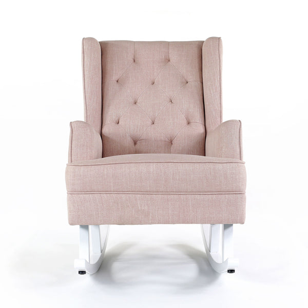 Isla Wingback Rocking Chair Dusty Pink White Legs Black