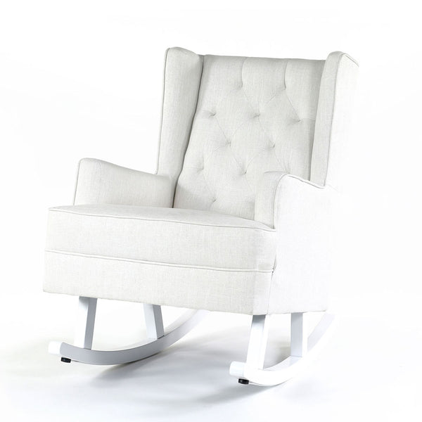 Isla Wingback Rocking Chair Linen White White Legs - Black Mango
