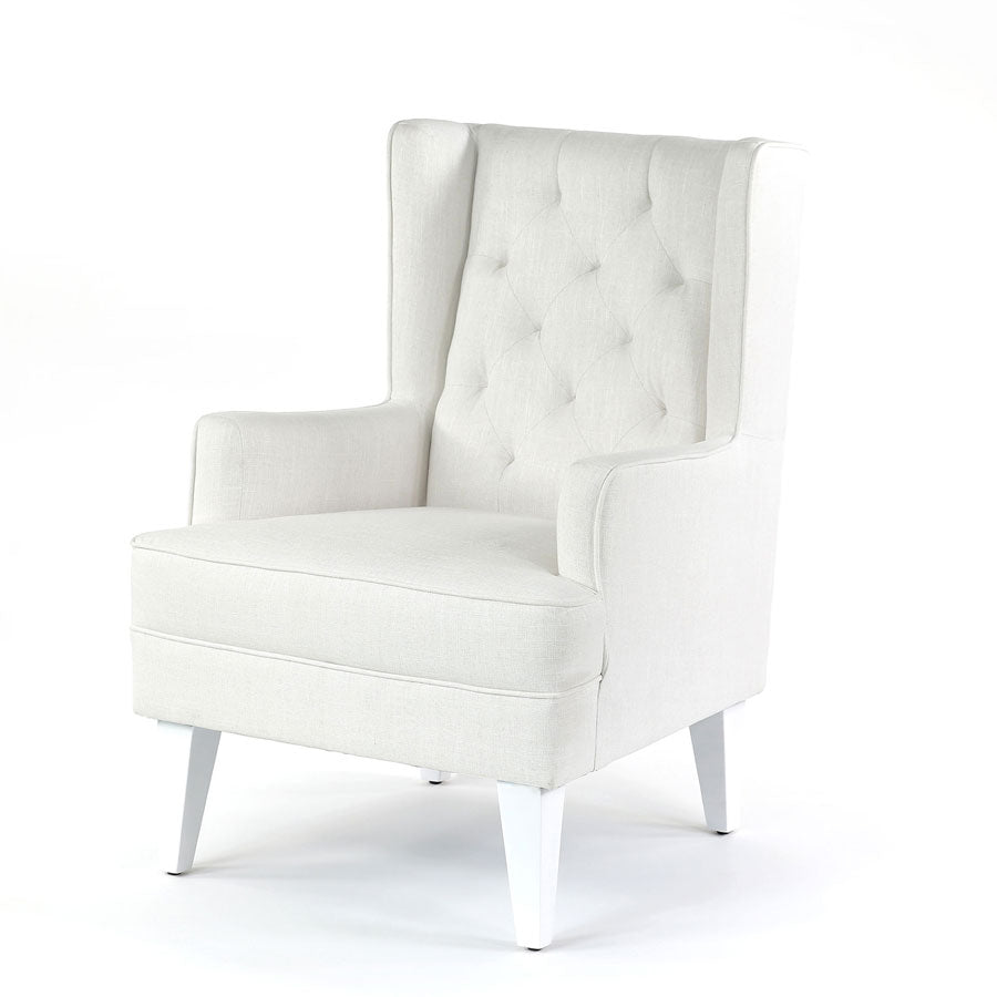 Isla Wingback Rocking Chair Linen White White Legs Black