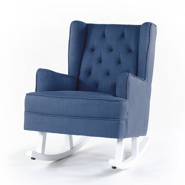 Isla Wingback Rocking Chair Navy White Legs - Black Mango