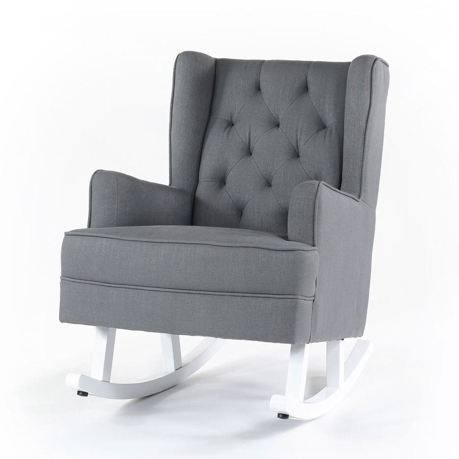 Isla Wingback Rocking Chair Wolf Grey White Legs - Black Mango