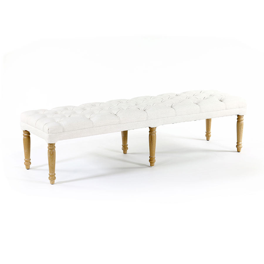 Juliet Dressing Bench Linen White - Black Mango
