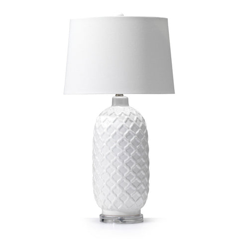 Morocco Ceramic Table Lamp White - Black Mango