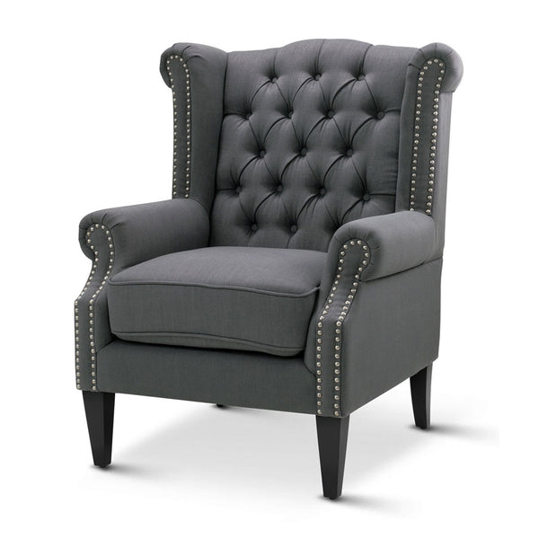 Royale Wingback Arm Chair Charcoal - Black Mango