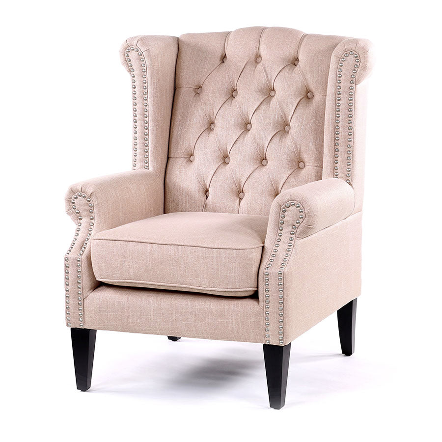 Royale Wingback Arm Chair Dusty Pink Black Mango