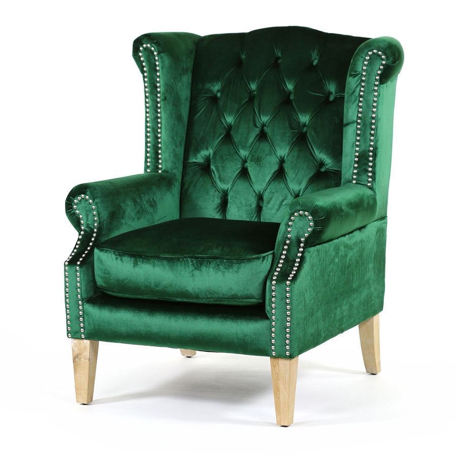Royale Wingback Arm Chair Emerald - Black Mango
