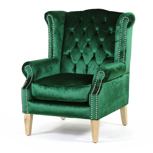 Royale Wingback Arm Chair Emerald