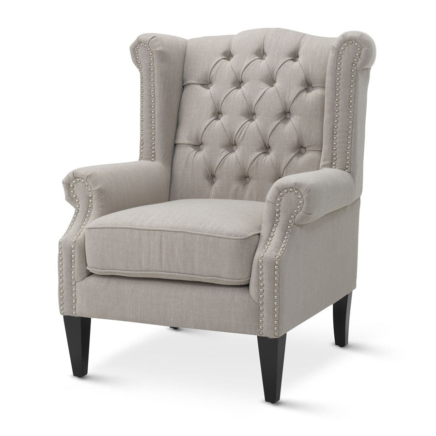 Royale Wingback Arm Chair Taupe - Black Mango