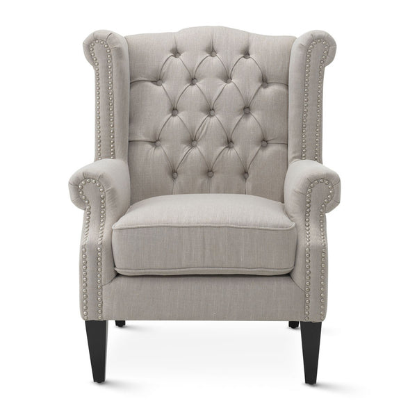 cream wingback armchair royale wingback arm chair taupe black mango 13632 | royale wingback arm chair taupe BM0165 grande