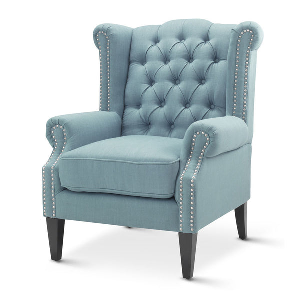 Royale Wingback Arm Chair Teal - Black Mango