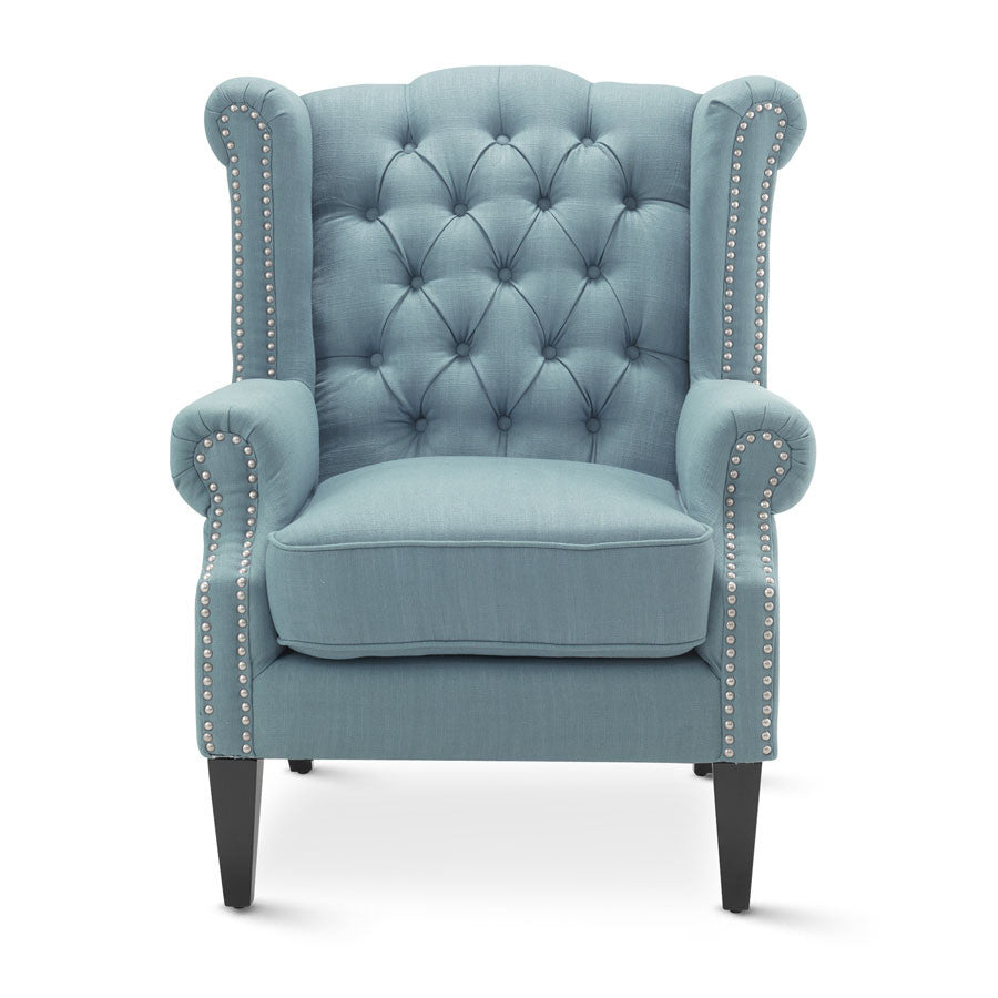 Wooden Arm Chairs In Teal ~ Royale wingback arm chair teal black mango