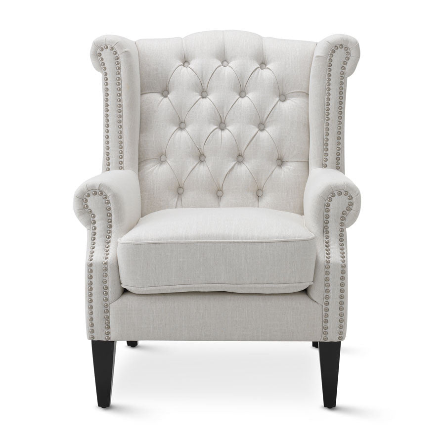 Linen white royale wingback arm chair black mango for Arm chair white