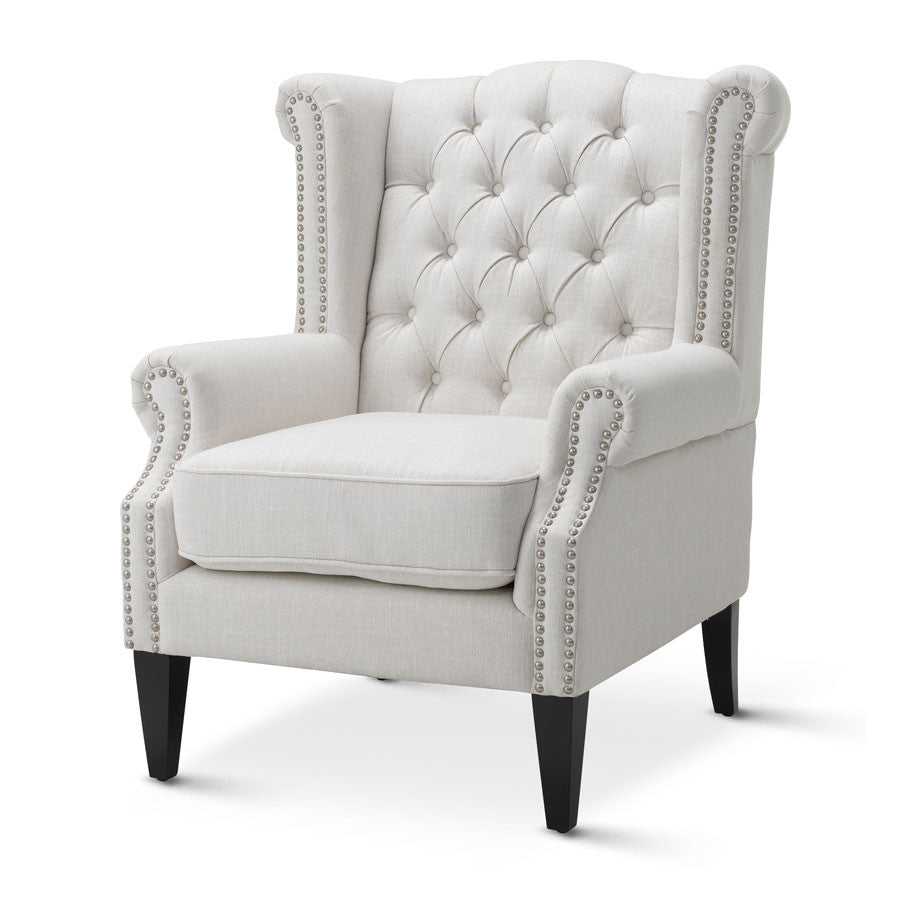 Linen White Royale Wingback Arm Chair Black Mango