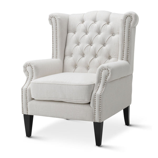 Royale Wingback Arm Chair Linen White - Black Mango
