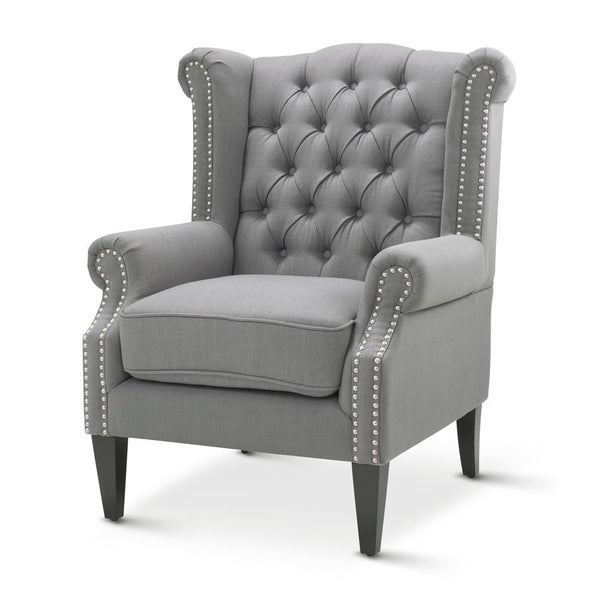 Royale Wingback Arm Chair Wolf Grey Black Mango