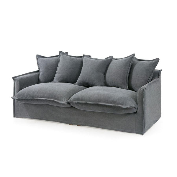 The Cloud 3 Seater Sofa with Slate Slipcover - Black Mango
