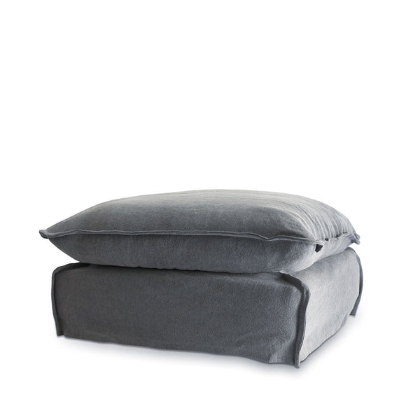 The Cloud Ottoman with Slate Slipcover