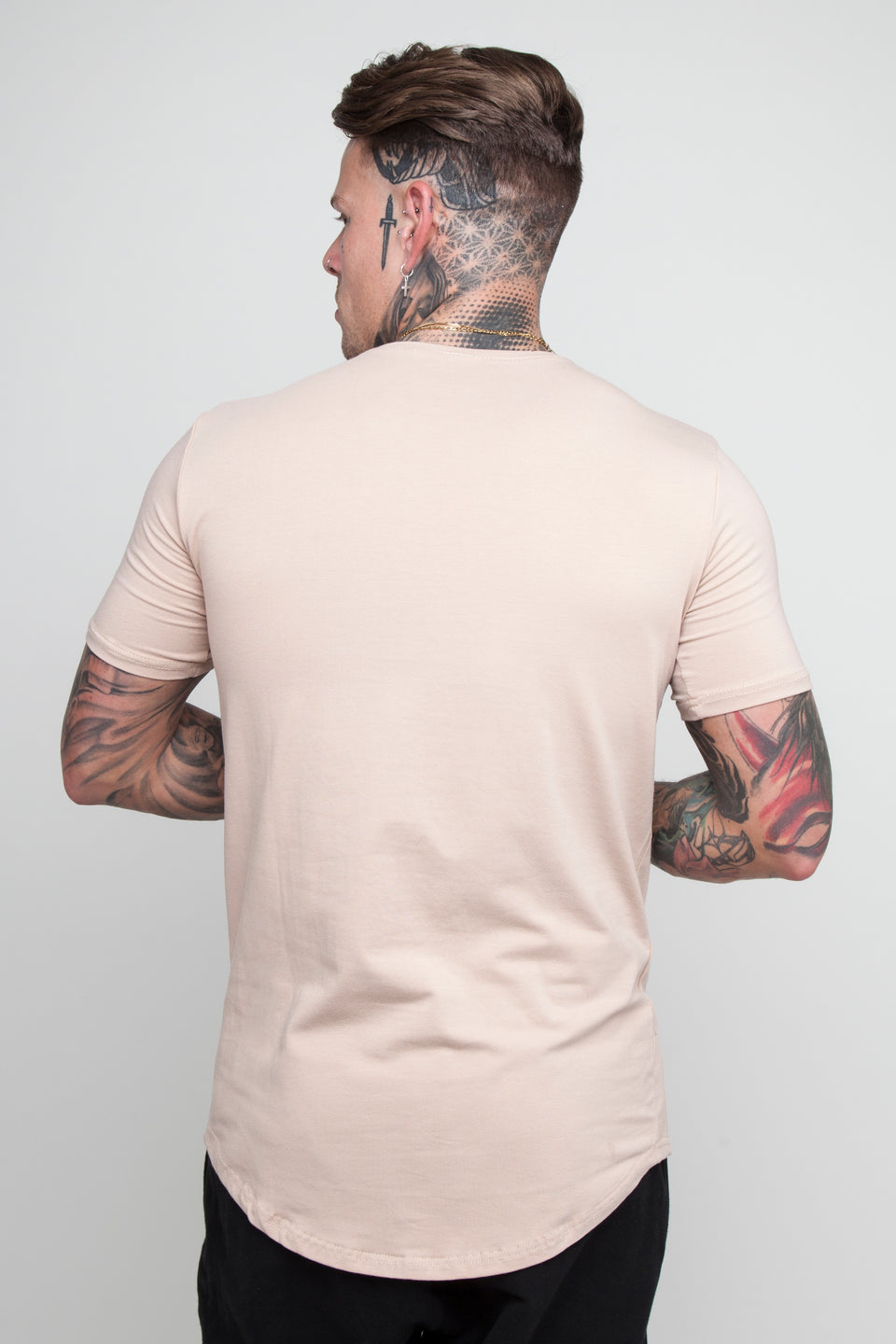 Vypex® Ascend Men's Tapered Fitted Gym T-Shirt In Sand beige