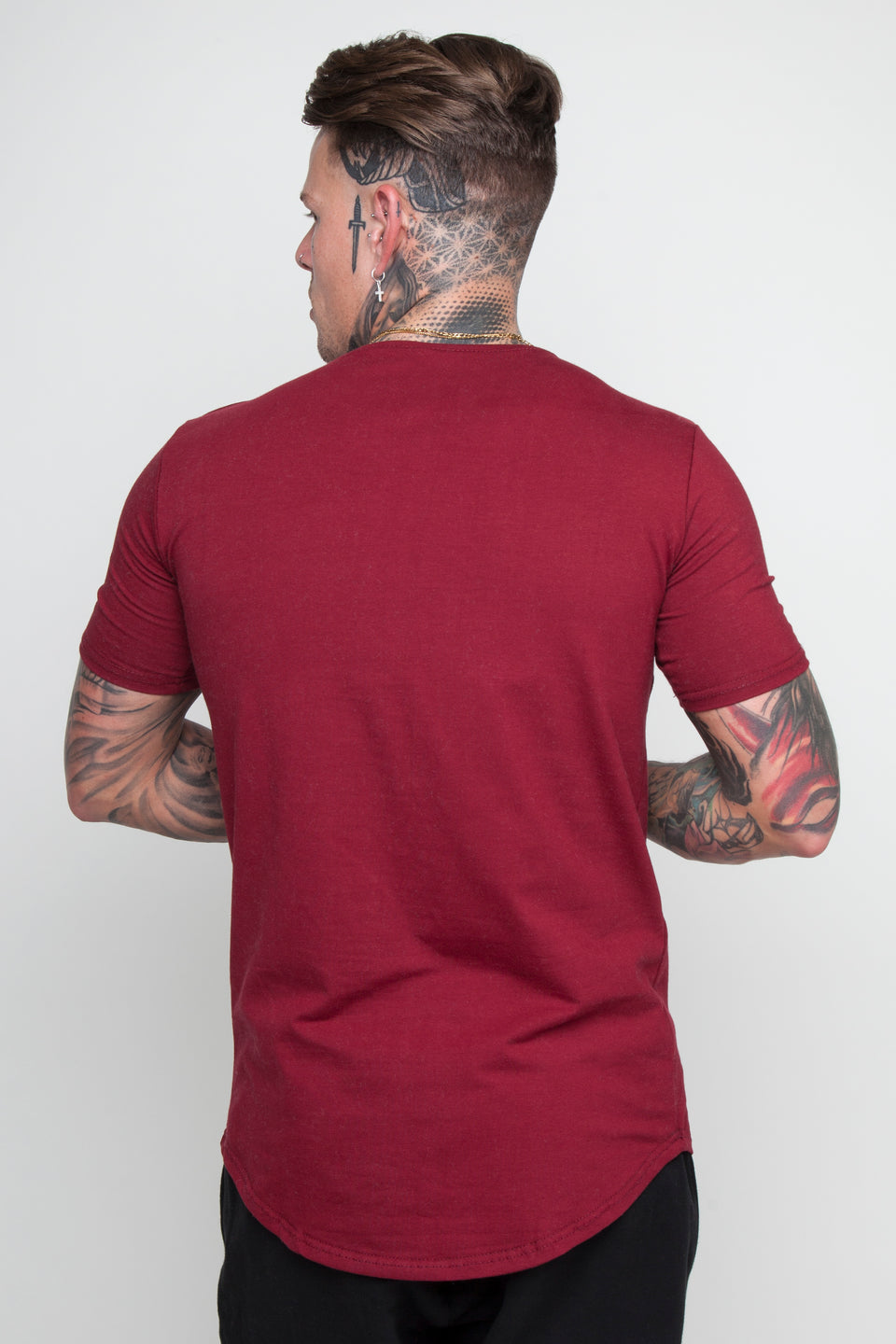 Vypex® Power Men's Tapered T-Shirt In Burgundy Red