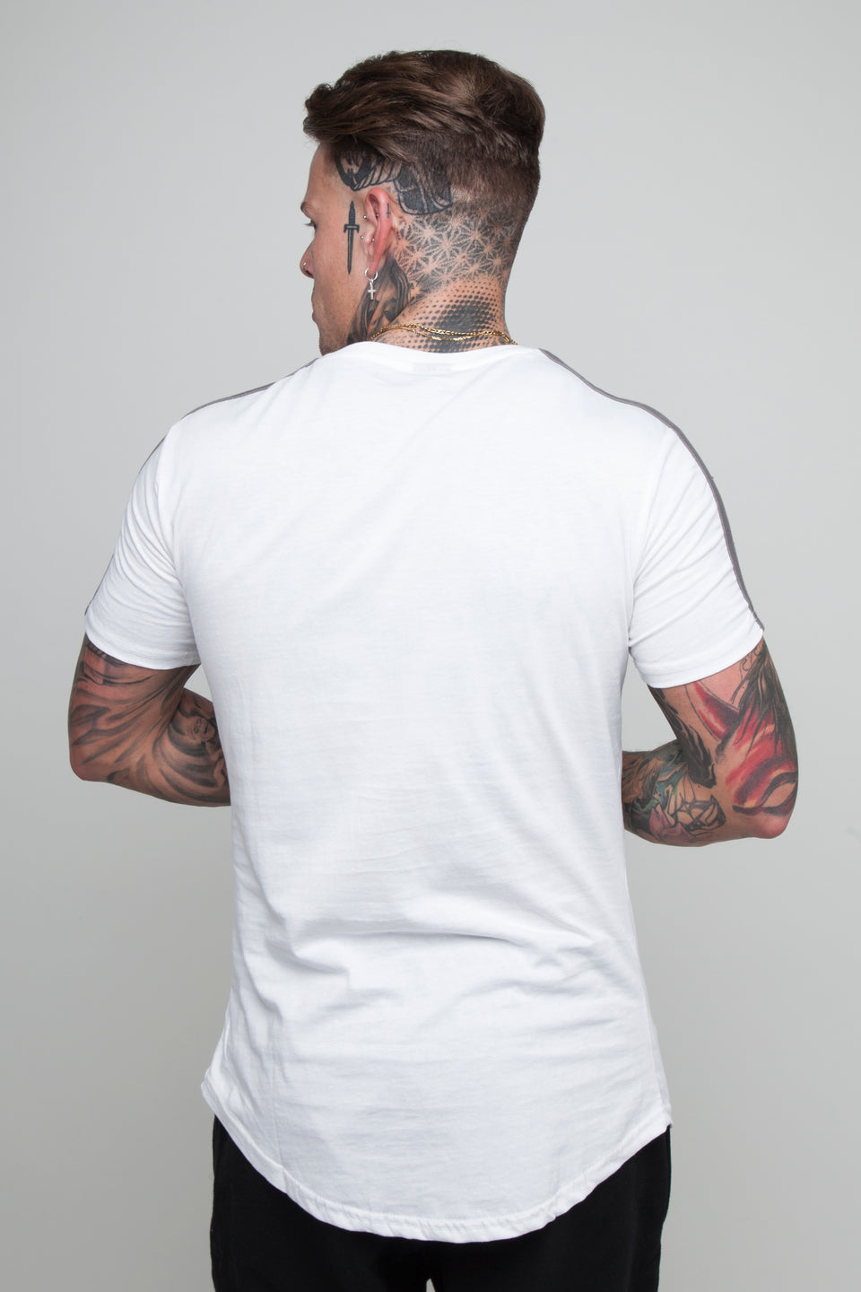 Vypex® Force Tapered Men's Fitted T-Shirt In White and Grey