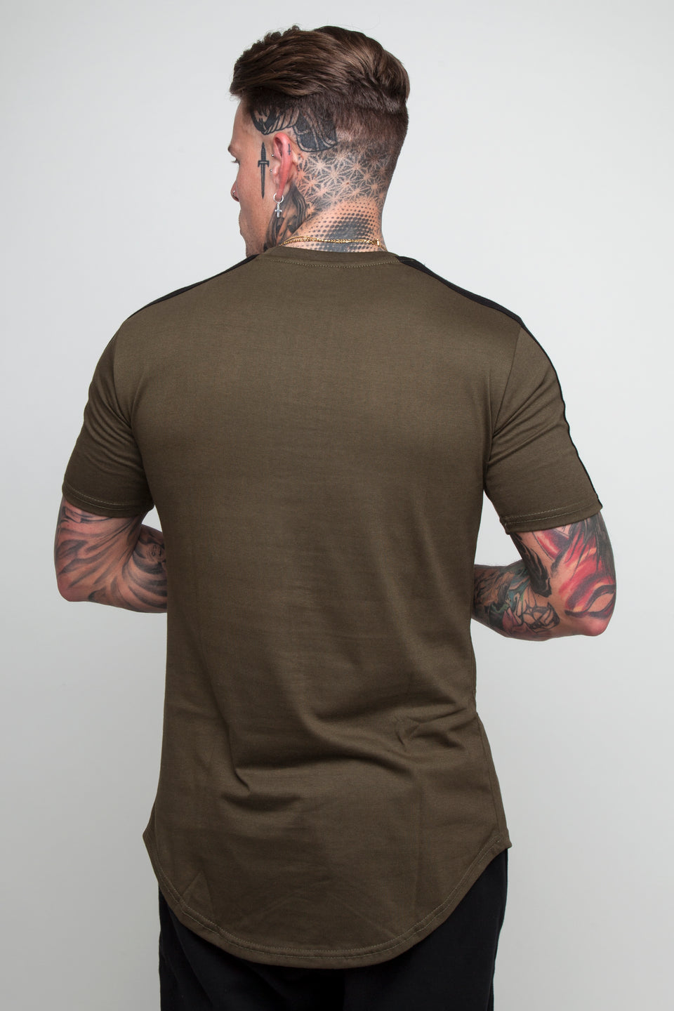Vypex® Force Tapered Men's Fitted T-Shirt In khaki green and black