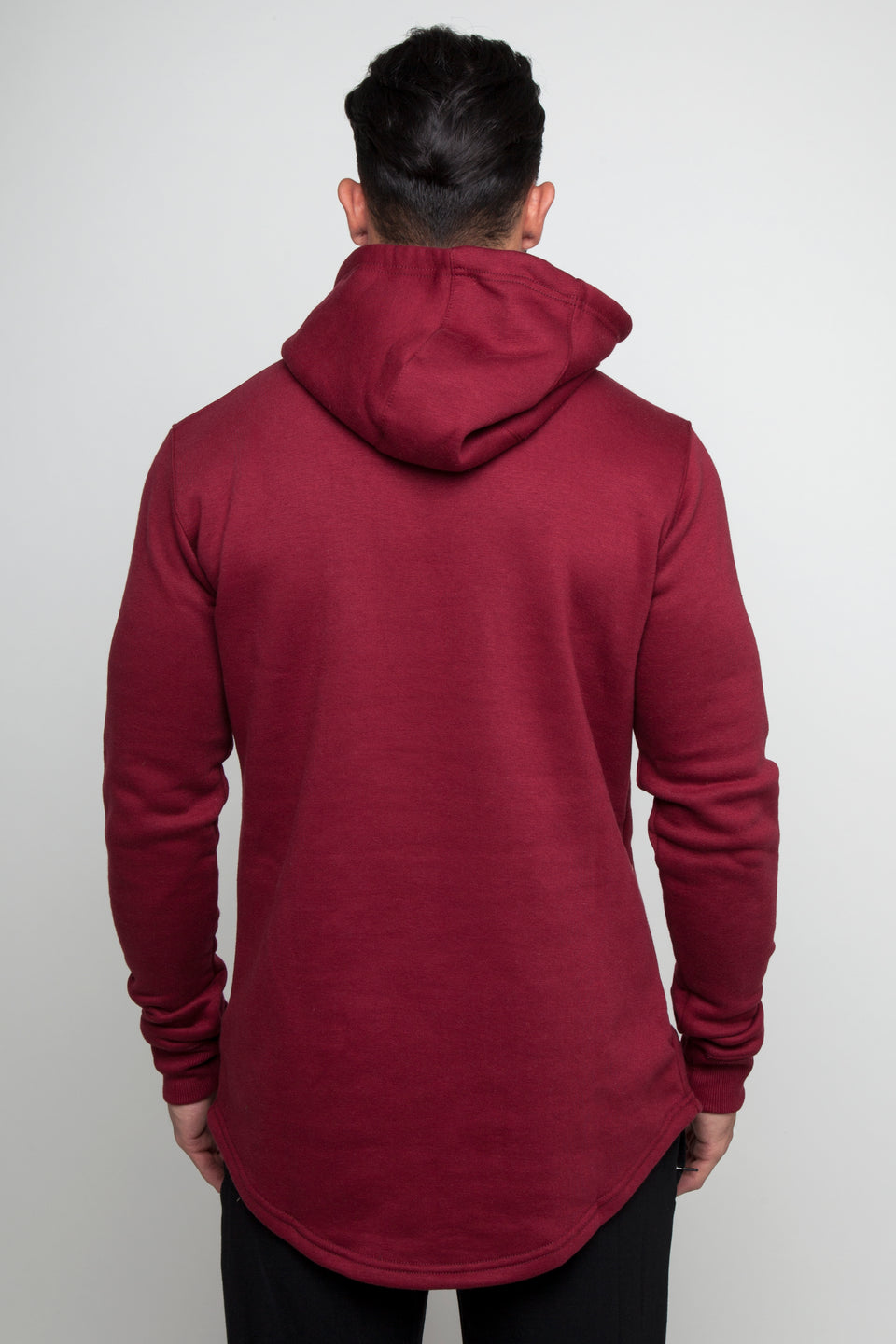 Vypex creed fitted mens gym hoodie in burgundy red