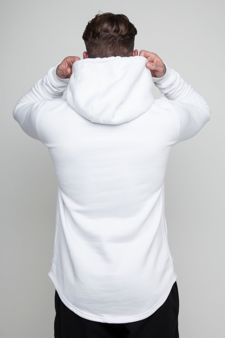 Vypex creed fitted mens gym hoodie in white