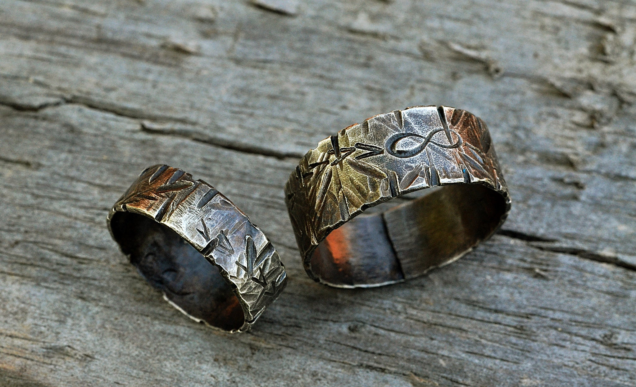 86295b2ef5 ... Matching Sterling Silver Infinity Symbol Rings with Arrows, Scratches  Overhead View - theliftjewelryshop ...