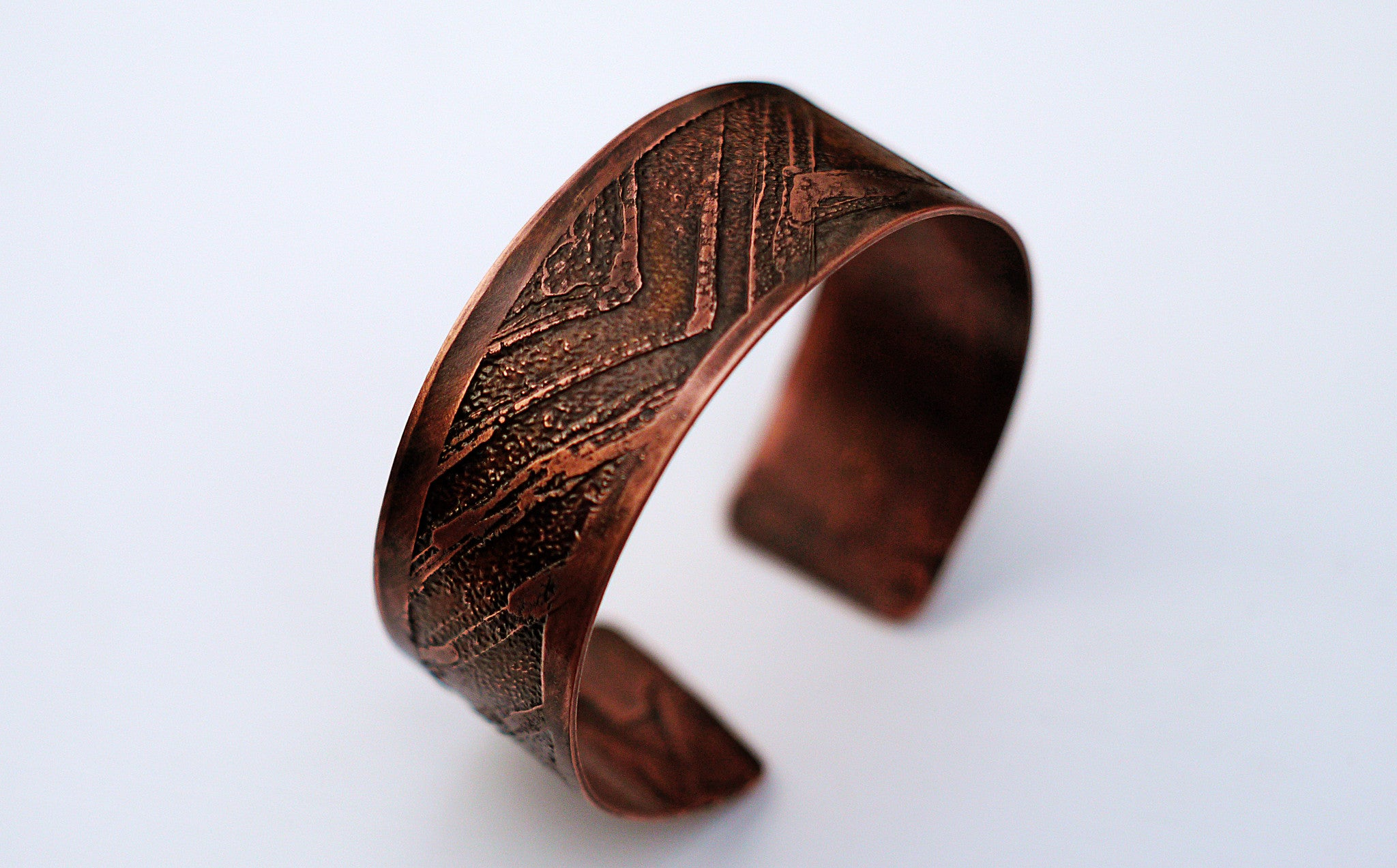 Mens Etched Copper Bracelet Wide Width Side View  Theliftjewelryshop