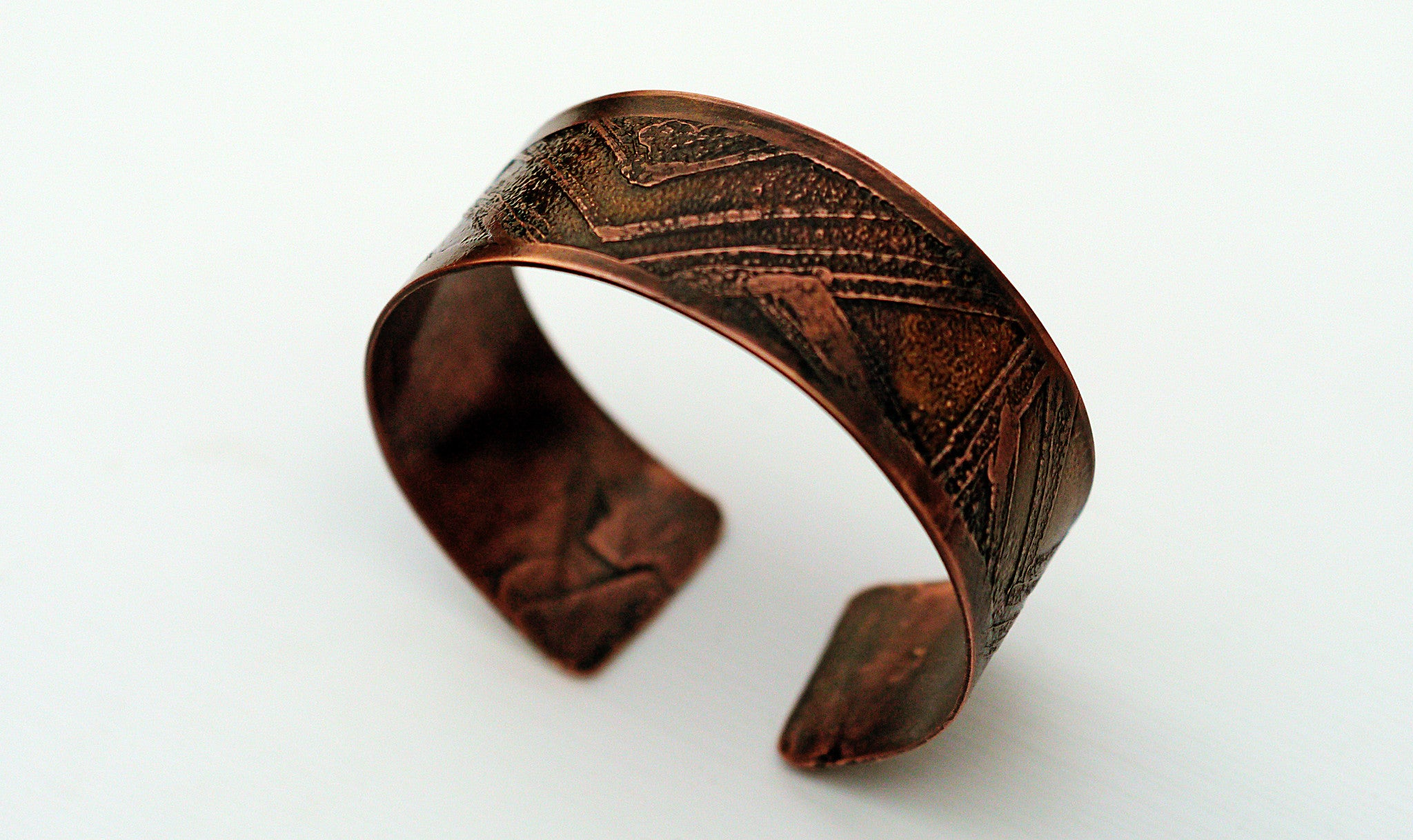 Mens Etched Copper Bracelet Wide Width Top View 2  Theliftjewelryshop